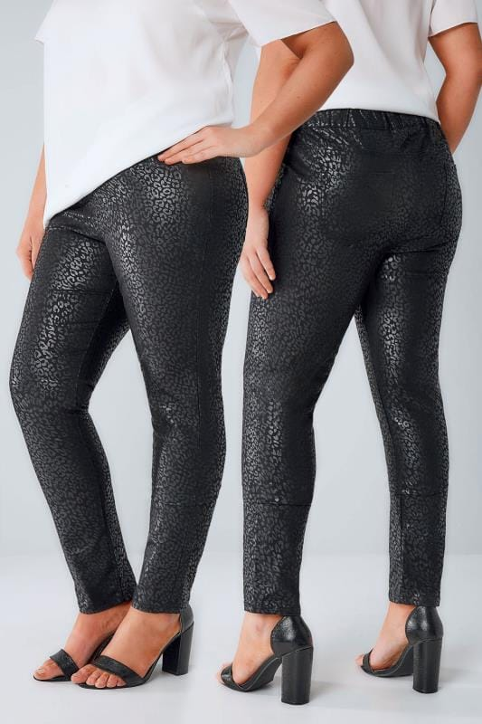 Black Foil Leopard Print Jeggings