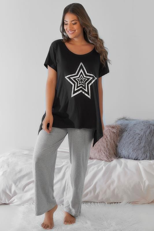 Black Foil Star Print Pyjama Top With Hanky Hem