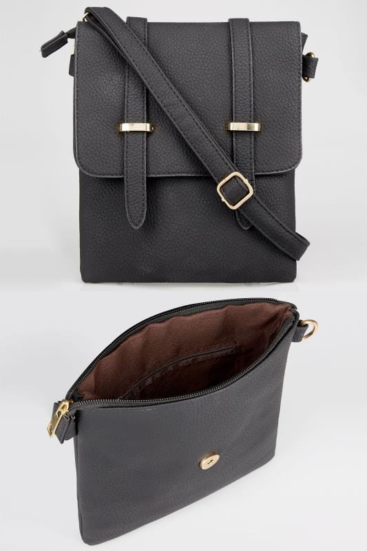 Black Foldover Cross Body Bag