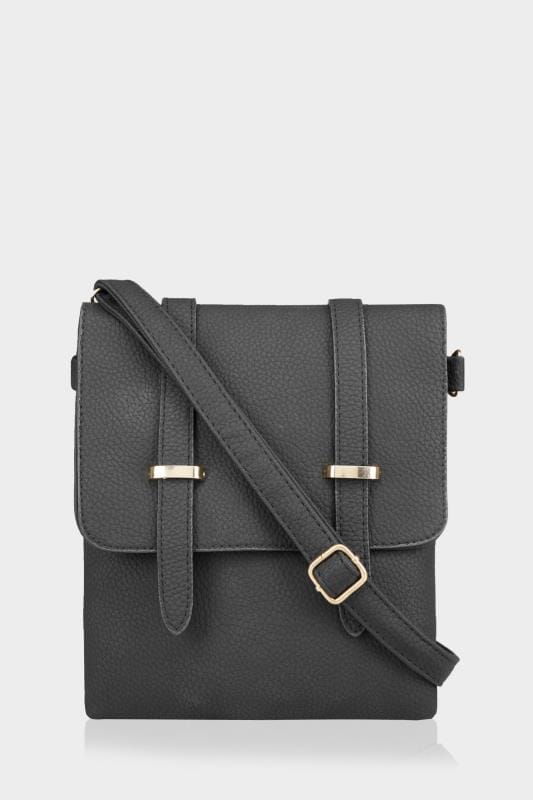 Grote maten Tassen & Portemonnees Black Foldover Cross Body Bag