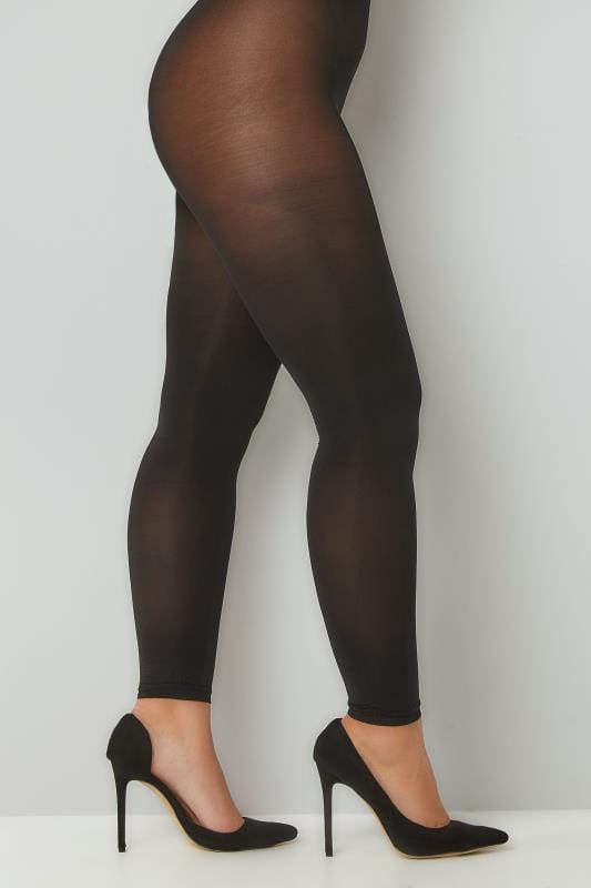 Plus Size Tights Black Footless 80 Denier Tights