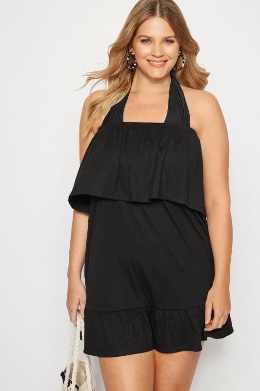 Plus Size Kaftans & Cover Ups Black Frill Bandeau Beach Dress