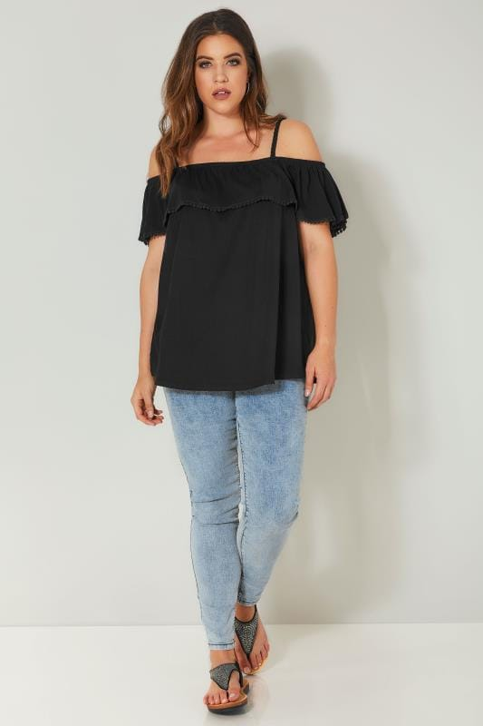 Black Frilled Bardot Top
