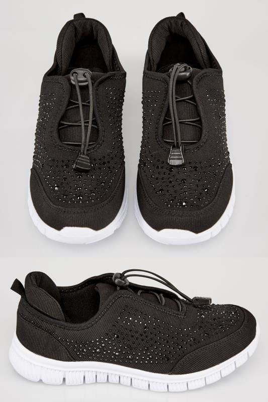 Wide Fit Trainers Black COMFORT INSOLE Gem Embellished Trainers In TRUE EEE Fit