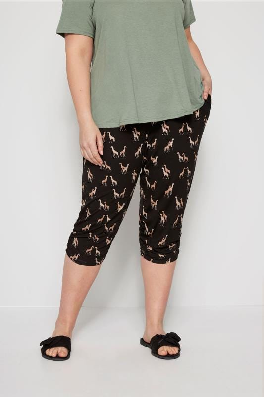 Plus Size Cropped Trousers Black Giraffe Cropped Harem Trousers
