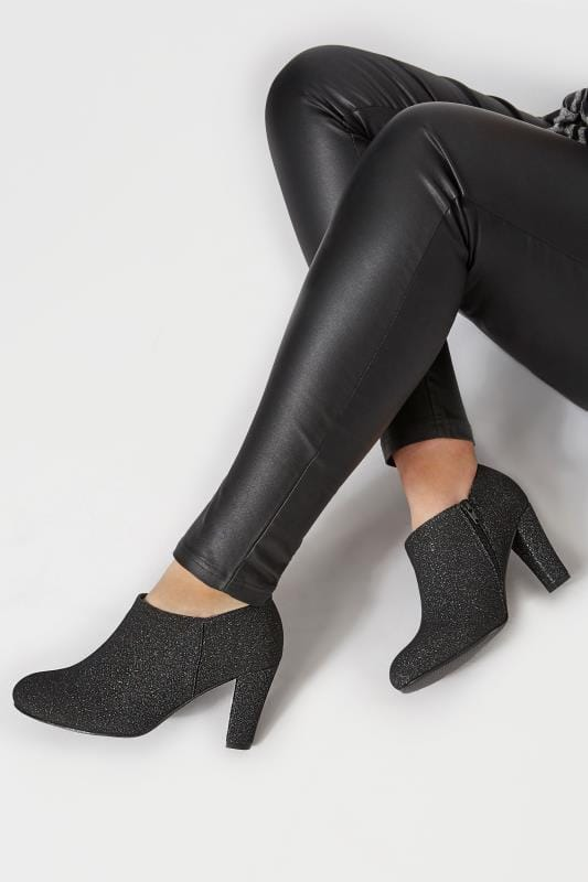 Wide Fit Boots Black Glitter Boot Heels In EEE Fit