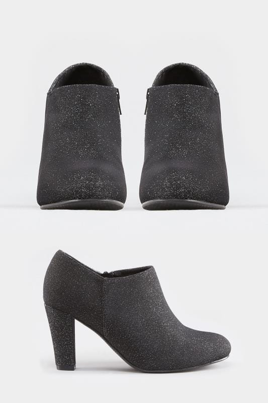 Black Glitter Boot Heels In EEE Fit