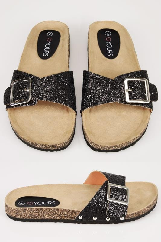 Wide Fit Sandals Black Glitter Cork Effect Mule Sandals In TRUE EEE Fit