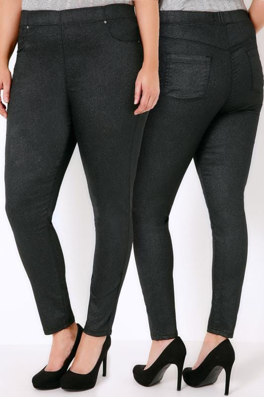 Black Glitter Jeggings With Elasticated Waistband