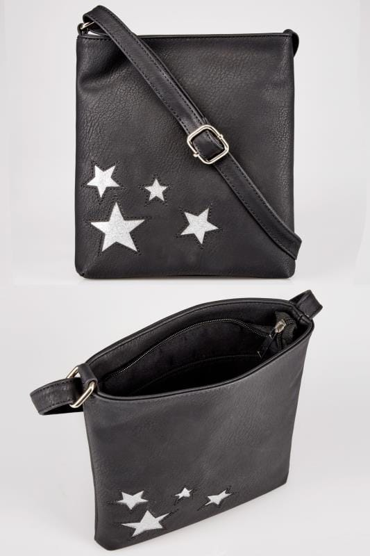 Plus Size Bags & Purses Black Glitter Star Patterned Cross Body Bag With Extended Strap