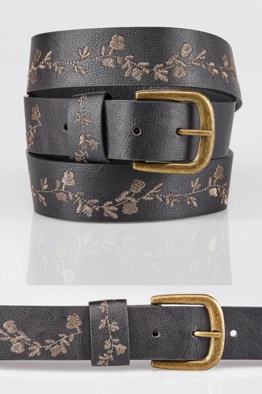 Plus Size Belts Black & Gold Floral Embroidered Belt