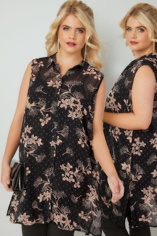 Black & Gold Metallic Floral Print Sleeveless Shirt