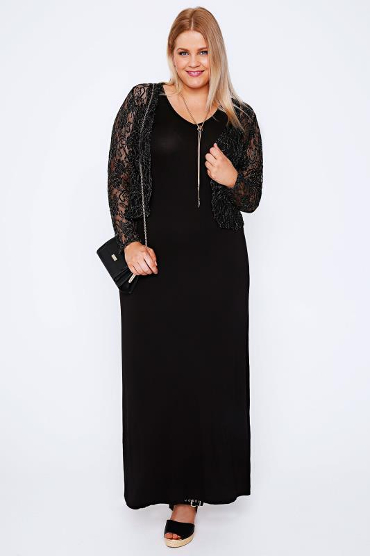 YOURS LONDON Black & Gold Metallic Lace Shrug