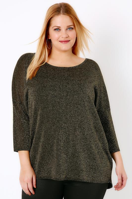 Black & Gold Metallic Scoop Back Jumper