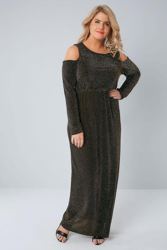Black & Gold Metallic Shimmer Cold Shoulder Maxi Dress With Elasticated Waist