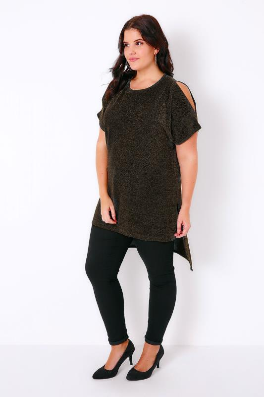 Black & Gold Sparkle Longline Top With Dipped Hem