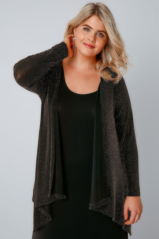 YOURS LONDON Black & Gold Sparkle Waterfall Cardigan