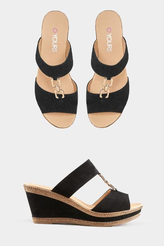 8e6911a4fd256 Black Gold Tone Detail Wedge Mules | Sizes 5EEE to 9EEE | Yours Clothing