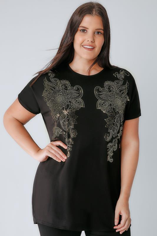 Black & Gold Top With Foil Paisley Print