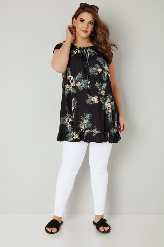 Black & Green Floral Leaf Print Gypsy Top With Frill Hem