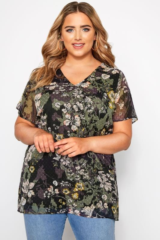 Black & Green Floral Chiffon Blouse