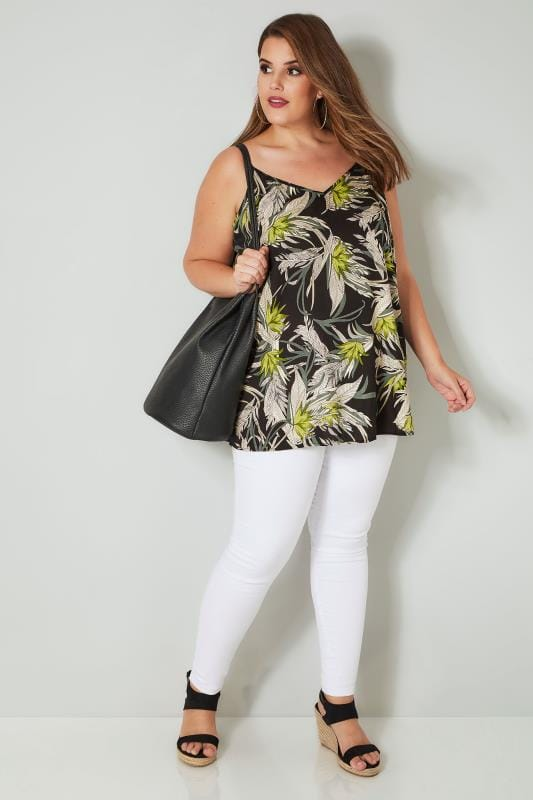 Black & Green Leaf Print Woven Cami Top