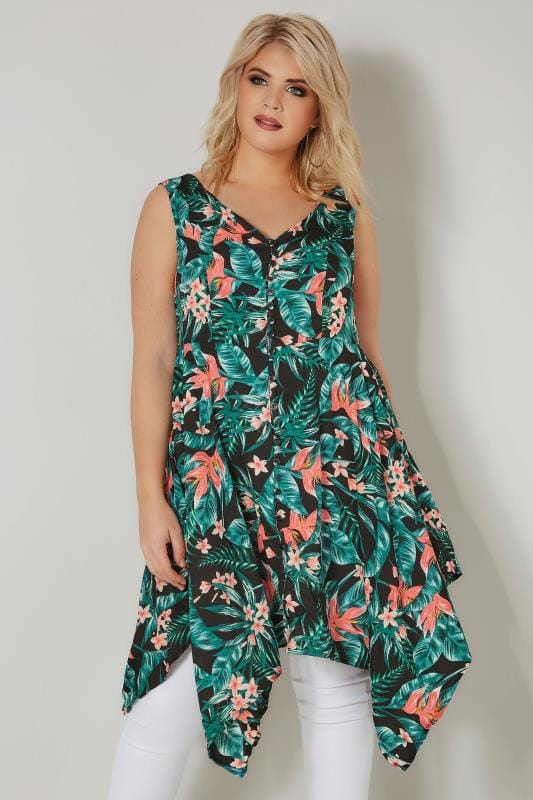 Plus Size Longline Tops Black & Green Tropical Floral Print Sleeveless Top With Cross Over Back & Hanky Hem