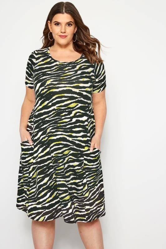 0e37726fbd44c Plus Size Black Dresses Black   Green Zebra Print Drape Pocket Dress