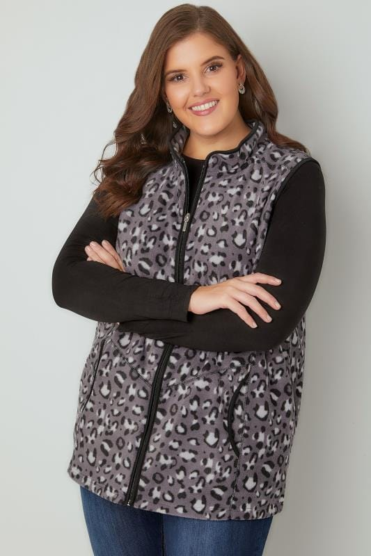 Plus Size Gilets Black & Grey Animal Print Fleece Gilet
