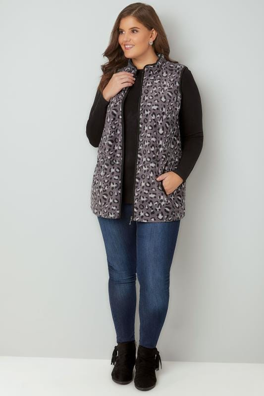 Black & Grey Animal Print Fleece Gilet