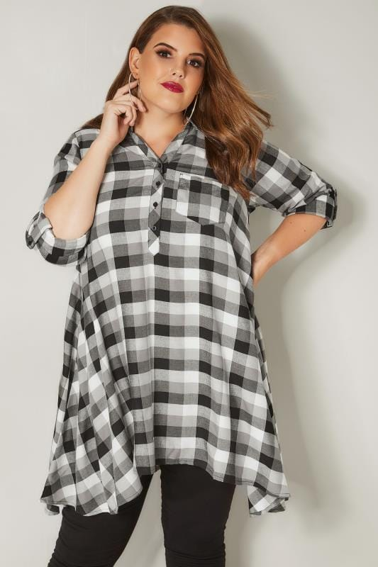 Plus Size Blouses & Shirts Black & Grey Asymmetric Check Shirt