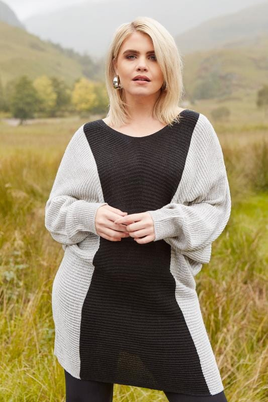Plus Size Jumpers Black & Grey Batwing Colour Block Jumper