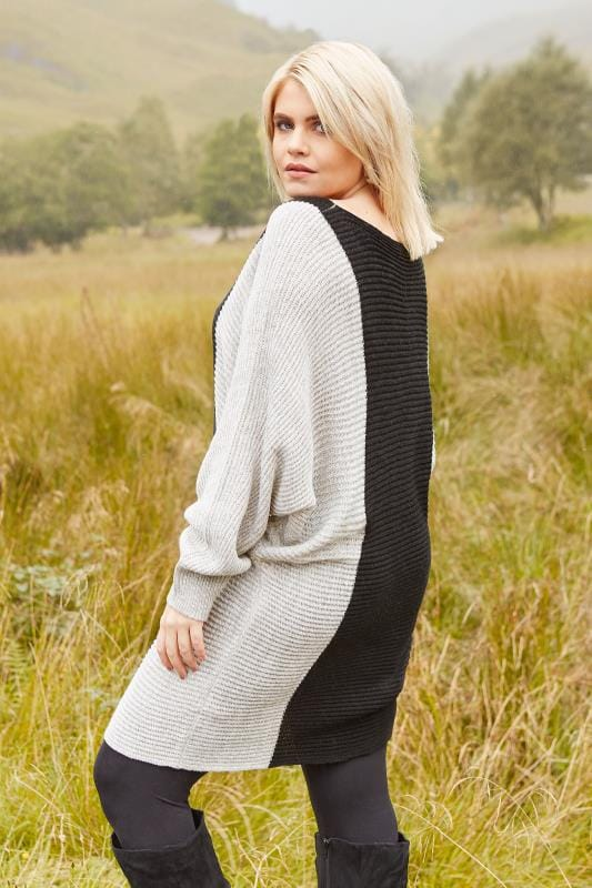 Black & Grey Batwing Colour Block Jumper