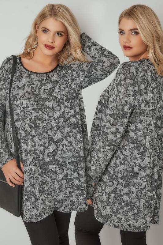 Black & Grey Butterfly Print Longline Swing Top