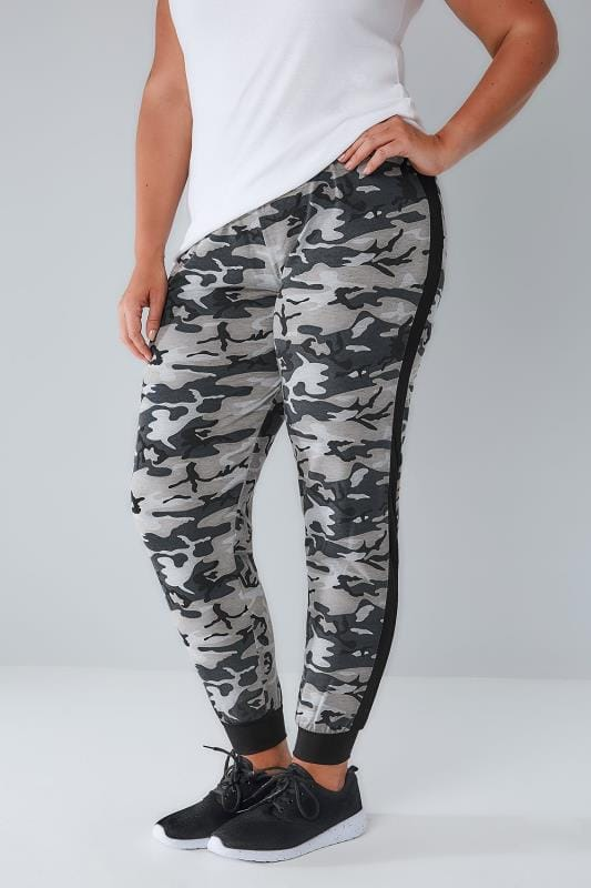 Harem Trousers Black & Grey Camouflage Print Cuffed Harem Joggers 101240
