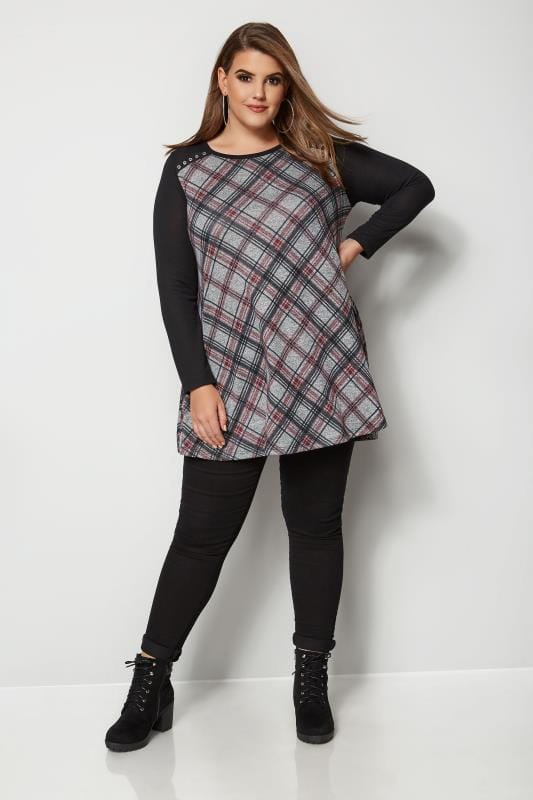 Plus Size Knitted Tops & Jumpers Black & Grey Check Swing Top