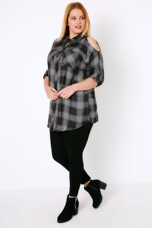 Black & Grey Checked Cold Shoulder Shirt