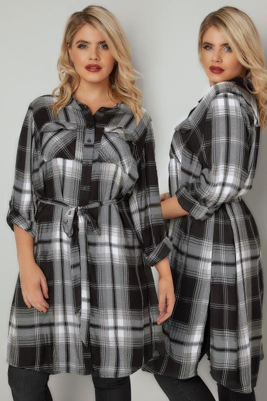 Blouses & Shirts Black & Grey Checked Longline Shirt With Tie Waist 130211