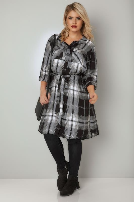 Plus Size Blouses & Shirts Black & Grey Check Longline Shirt With Tie Waist