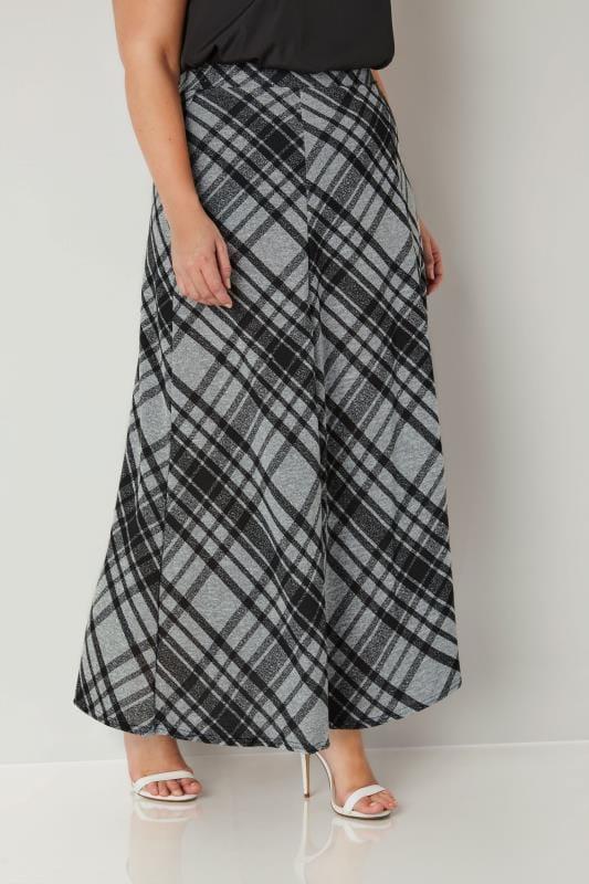 Plus Size Maxi Skirts Black & Grey Check Maxi Skirt