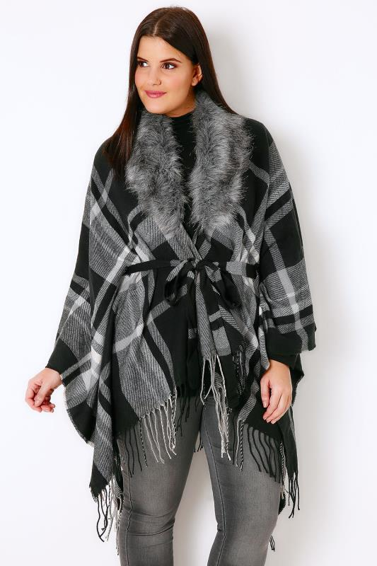 Black & Grey Checked Wrap With Removable Fur Collar