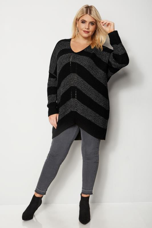 Plus Size Sweaters Black & Grey Chevron Knit Jumper