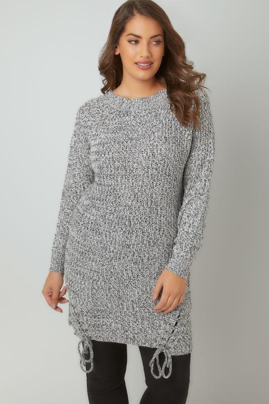 Plus Size Jumpers Black & Grey Chunky Knit Longline Jumper With Lace-Up Hem