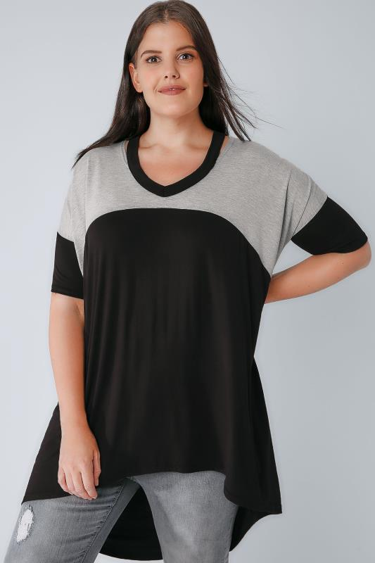 Black & Grey Colour Block Split Neck Top With Extreme Dipped Hem