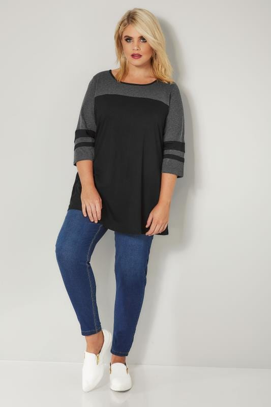Black & Grey Colour Block Top