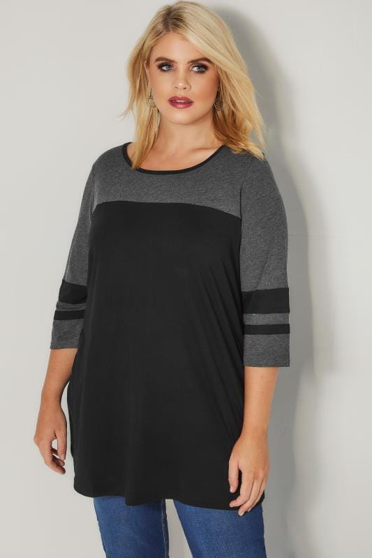 Plus Size Day Tops Black & Grey Colour Block Top