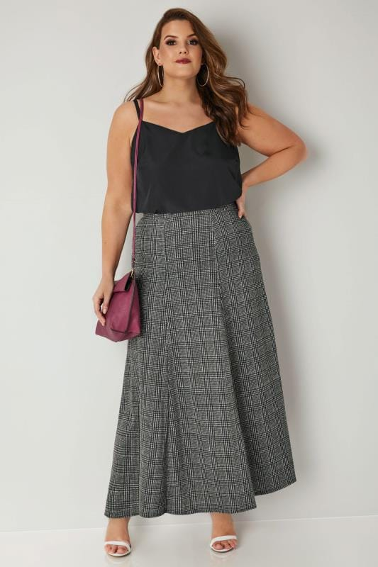 Black & Grey Dog Tooth Check Maxi Skirt