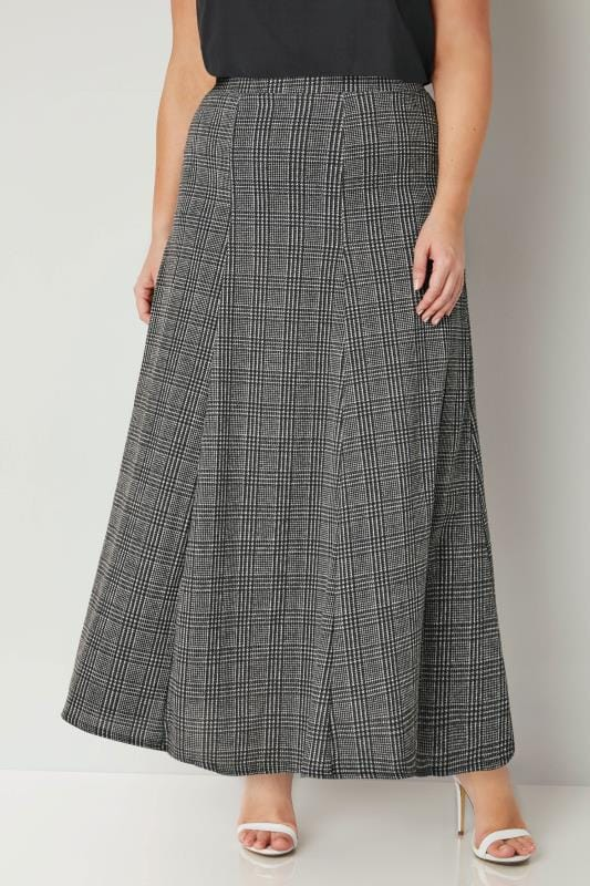 Plus Size Maxi Skirts Black & Grey Dog Tooth Check Maxi Skirt