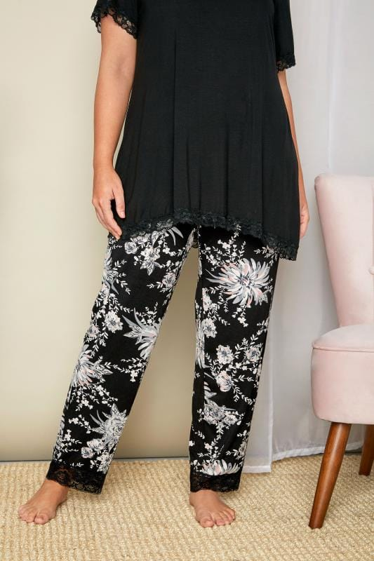Plus Size Pyjamas Black & Grey Floral Lace Loungewear Bottoms
