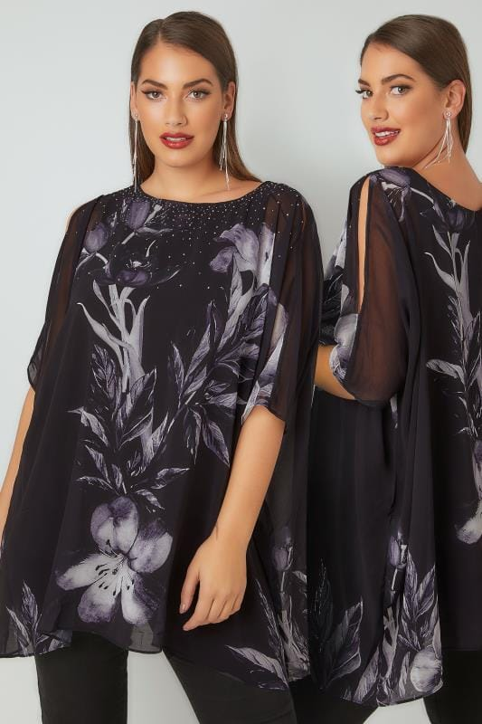 Party Tops Black & Grey Floral Print Cape Style Top With Split Sleeves 130166